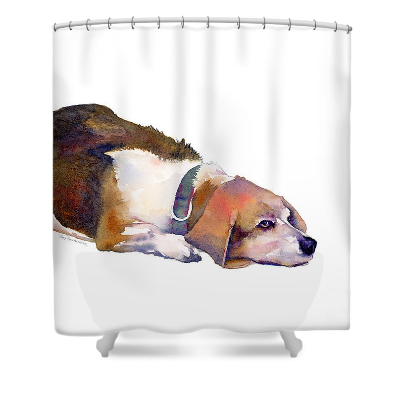 Beagle Shower Curtain Featuring The Painting Thoughts By Amy Kirkpatrick