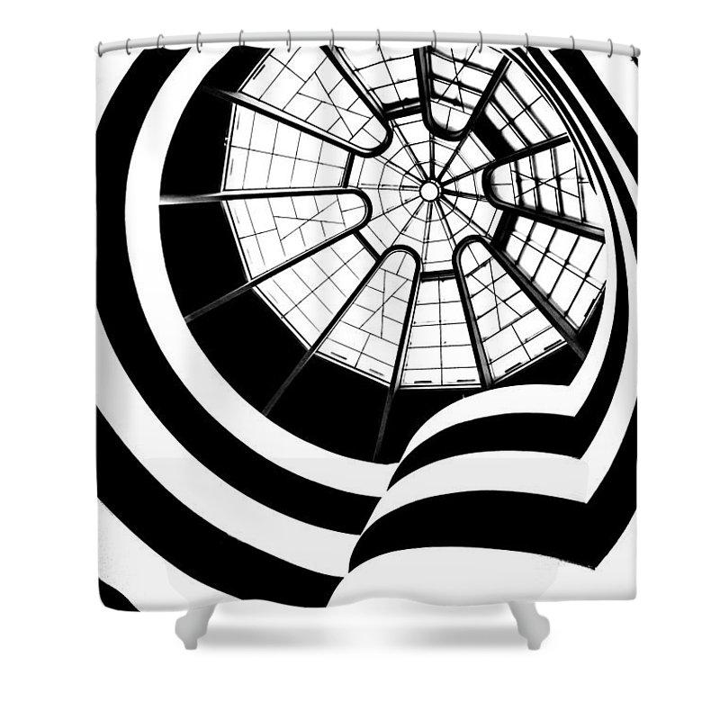 Guggenheim Museum Shower Curtain featuring the photograph Beam Me Up by Az Jackson