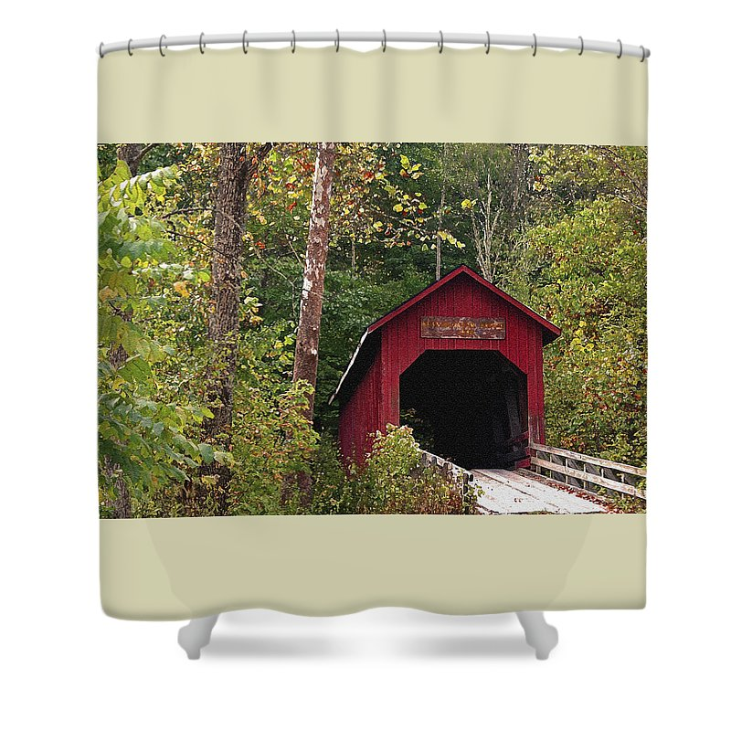 Covered Bridge Shower Curtain featuring the photograph Bean Blossom Bridge I by Margie Wildblood