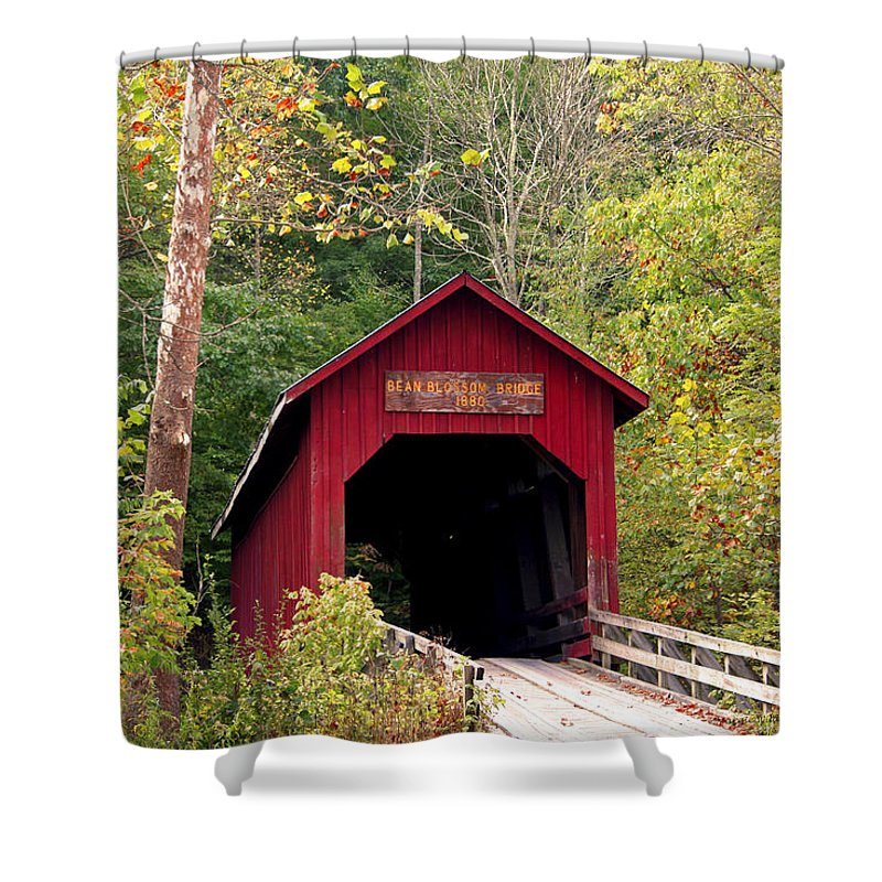 Covered Bridge Shower Curtain featuring the photograph Bean Blossom Bridge II by Margie Wildblood