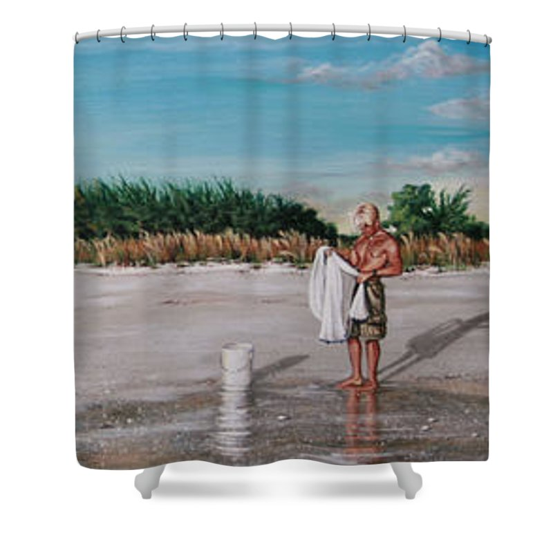 Beach Shower Curtain featuring the painting Bean Point by Joan Garcia