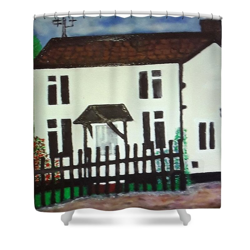Cottage Bear House Home Country Trees Farm Village Norfolk Uk England Norwich Shower Curtain featuring the painting Bear Cottage by Marilyn Impellitier