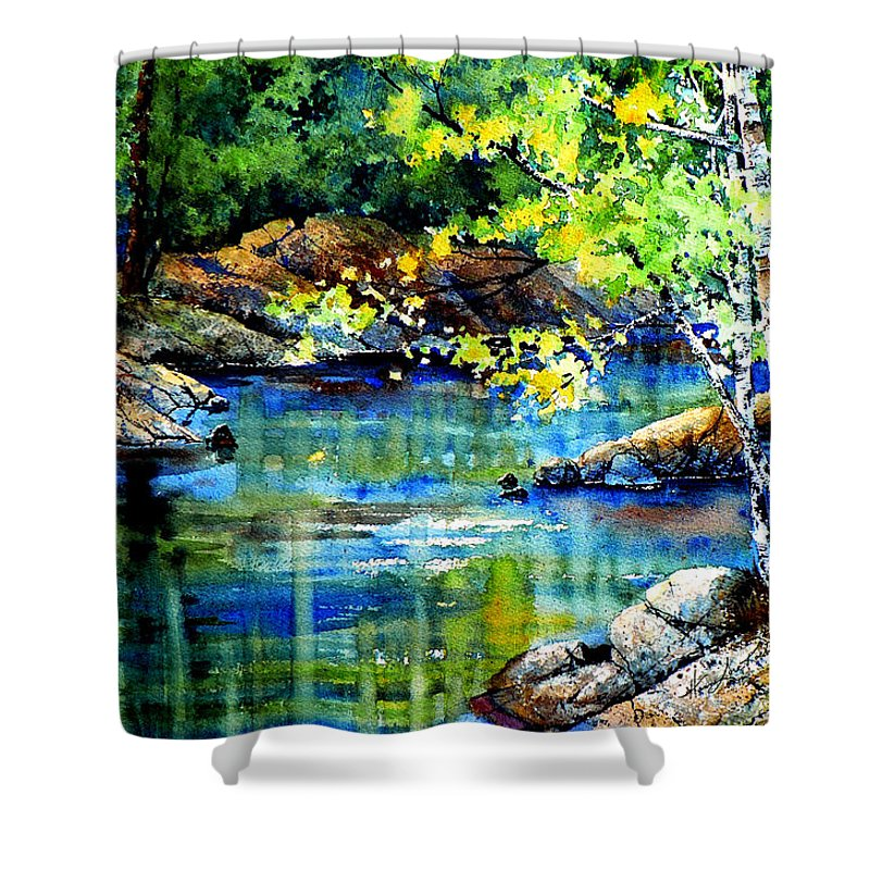 Landscape Painting Shower Curtain featuring the painting Bear Paw Stream by Hanne Lore Koehler