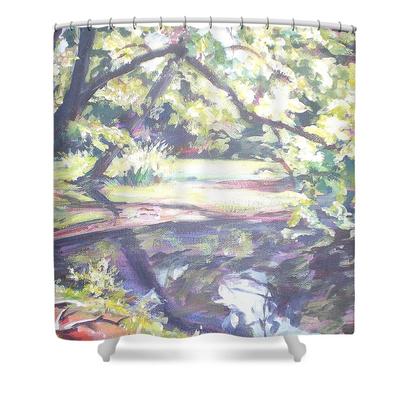 Landscape Shower Curtain featuring the painting Bear Pond by Sheila Holland