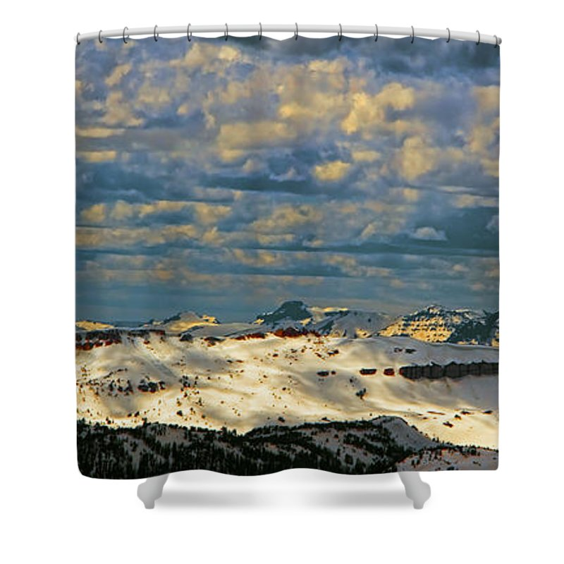 Beartooth Butte ( Red On Left) And Pilot & Index Mountains ( Peaks On Right) Are Seen From Beartooth Highway Shower Curtain featuring the photograph Bear Tooth Mountain Range by Gary Beeler
