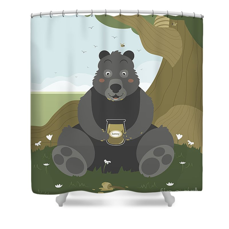 Honey Shower Curtain featuring the painting Bear With A Jar Of Honey by Pablo Romero