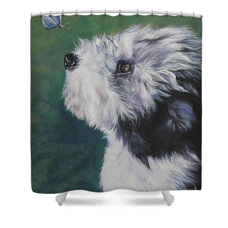 Bearded Collie Shower Curtain featuring the painting Bearded Collie Pup With Butterfly by Lee Ann Shepard