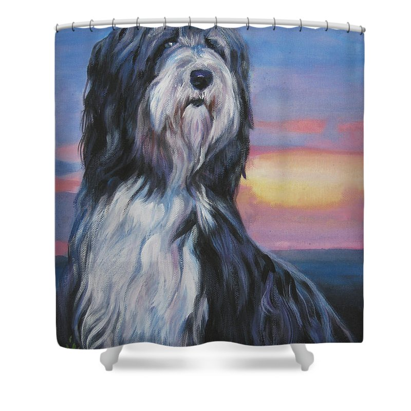Bearded Collie Shower Curtain featuring the painting Bearded Collie Sunset by Lee Ann Shepard