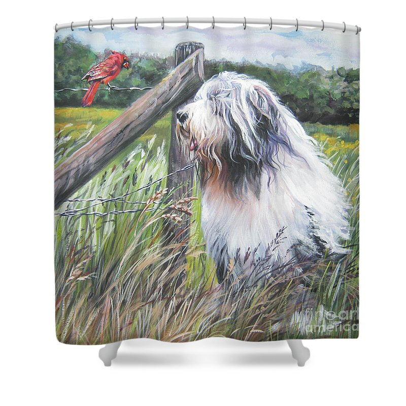 Bearded Collie Shower Curtain featuring the painting Bearded Collie With Cardinal by Lee Ann Shepard