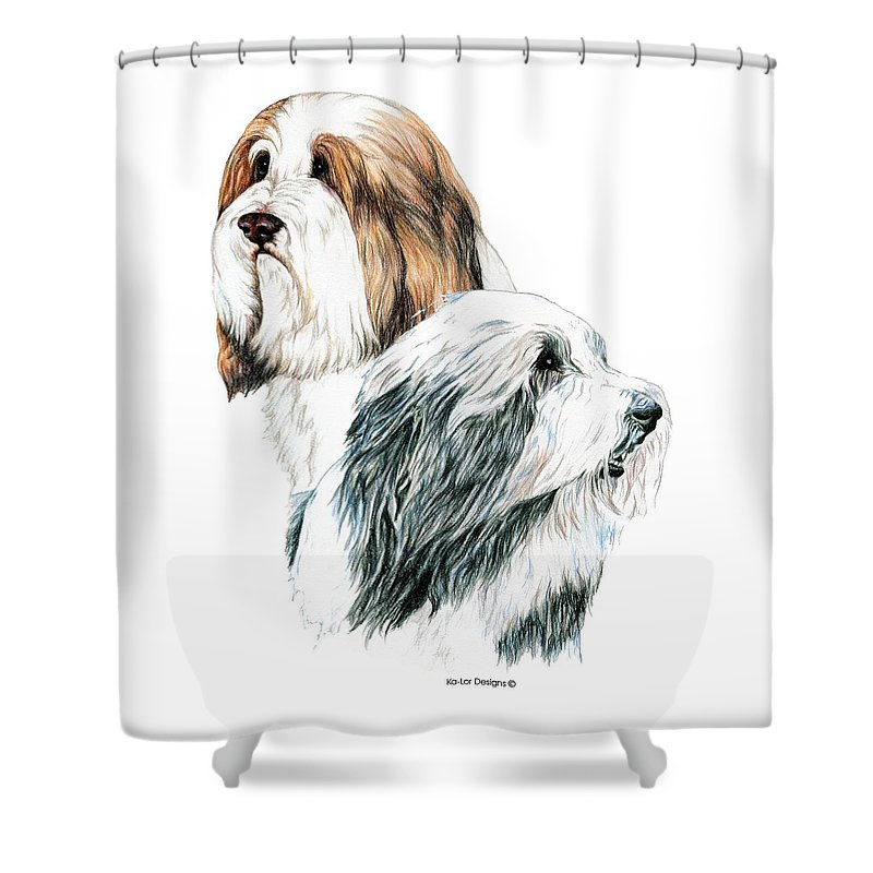 Bearded Collies Shower Curtain featuring the drawing Bearded Collies by Kathleen Sepulveda