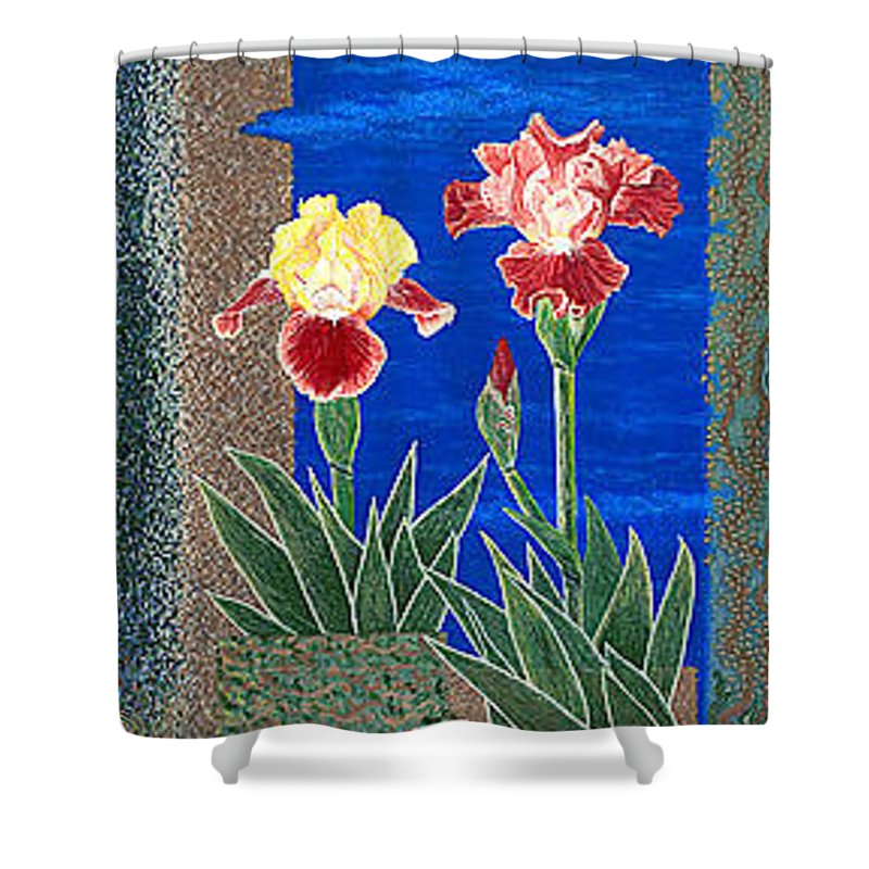 Irises Shower Curtain featuring the painting Bearded Irises Cheerful Fine Art Print Giclee High Quality Exceptional Color by Baslee Troutman