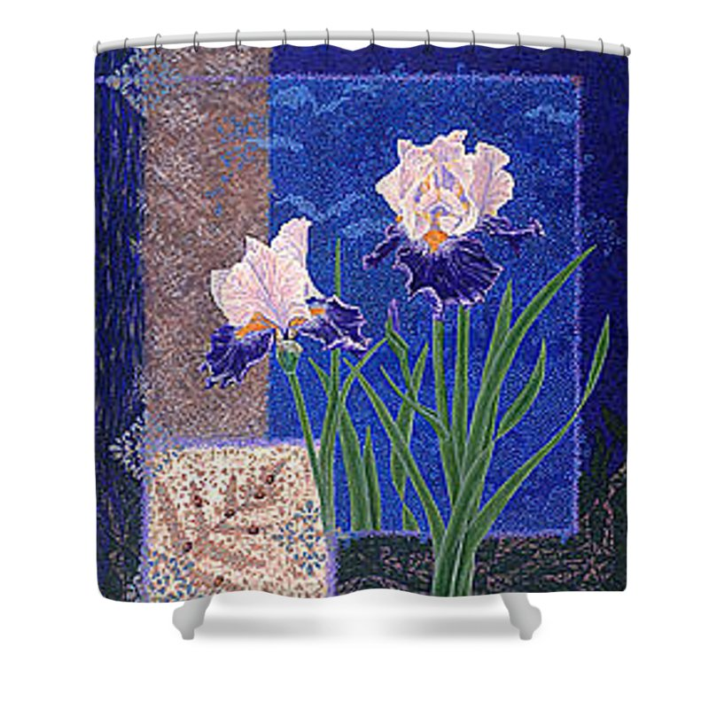 Irises Shower Curtain featuring the painting Bearded Irises Fine Art Print Giclee Ladybug Path by Baslee Troutman