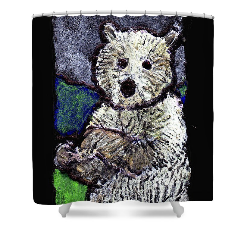 Bear Shower Curtain featuring the painting Bearly Scary by Wayne Potrafka