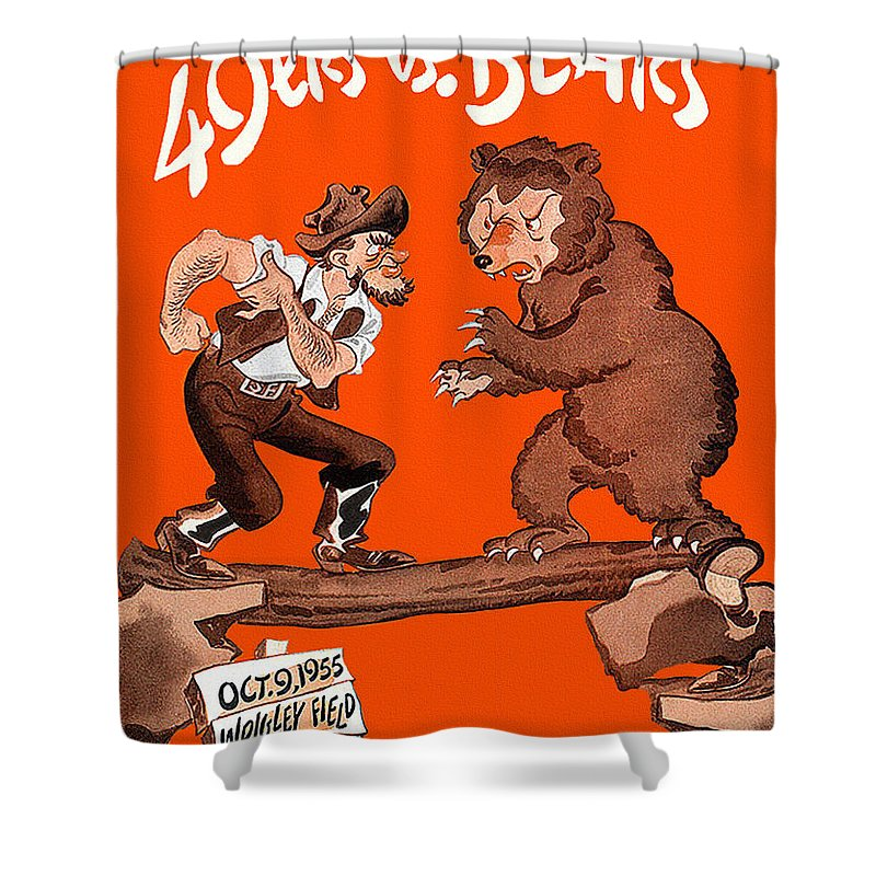 Bears V 49ers 1955 Program Shower Curtain For Sale By John Farr