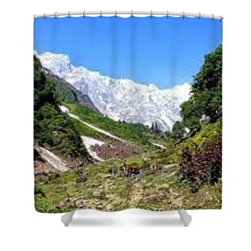 Beas Kund Shower Curtain featuring the drawing Beas Kund by Rachita Mathur