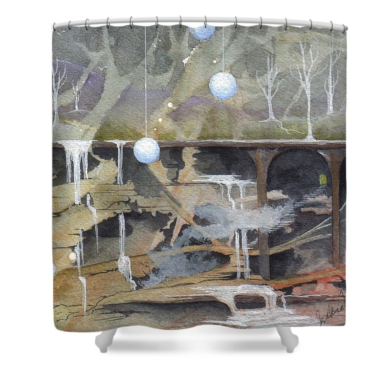 Fantasy Landscape Shower Curtain featuring the painting Beata's Destiny by Jackie Mueller-Jones