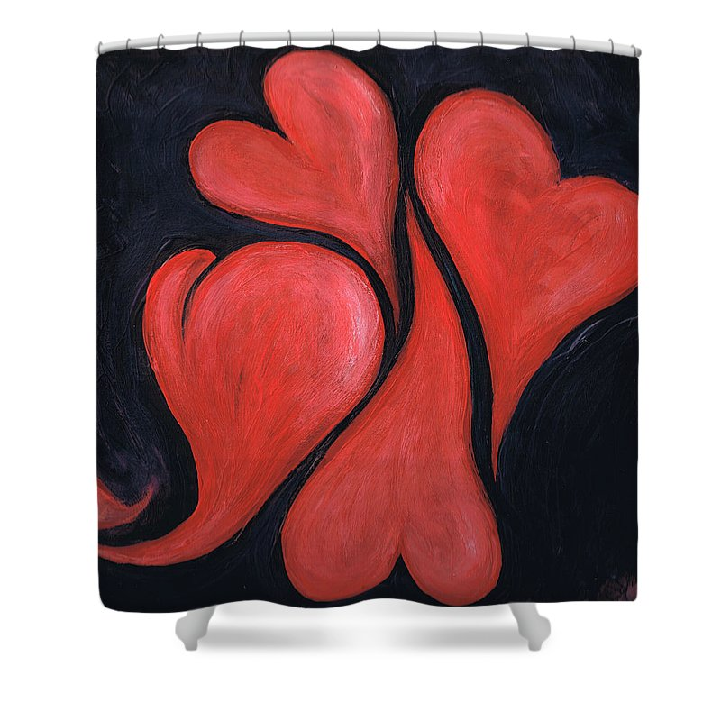 Hearts Shower Curtain featuring the painting Beating Hearts by Nancy Mueller