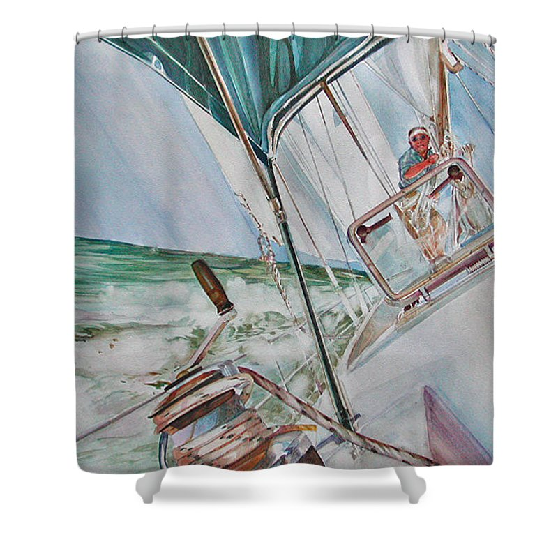Sailing Shower Curtain featuring the painting Beating Windward by P Anthony Visco