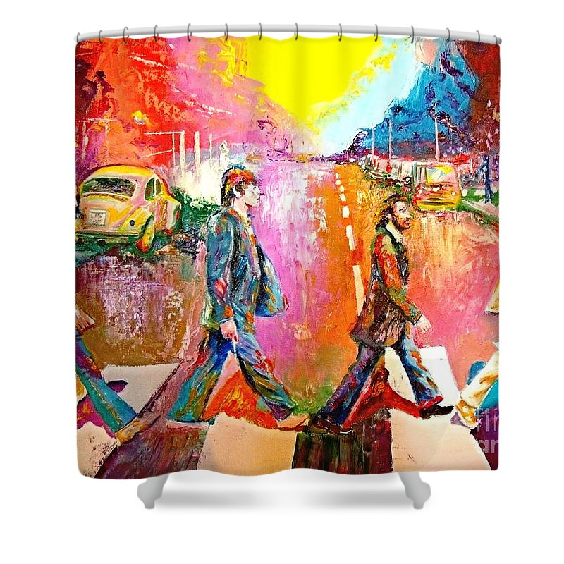 Impressionistice Version Shower Curtain featuring the painting Beatles Abbey Road by Leland Castro