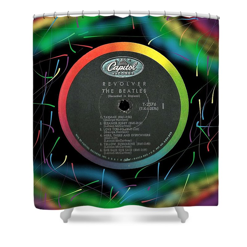 Beatles Shower Curtain featuring the digital art Beatles Revolver Rainbow Lp Label by Doug Siegel