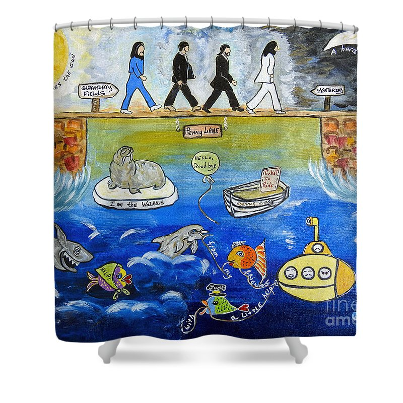 The Beatles Shower Curtain featuring the painting Beatles Song Titles Original Painting Characterization by Ella Kaye Dickey
