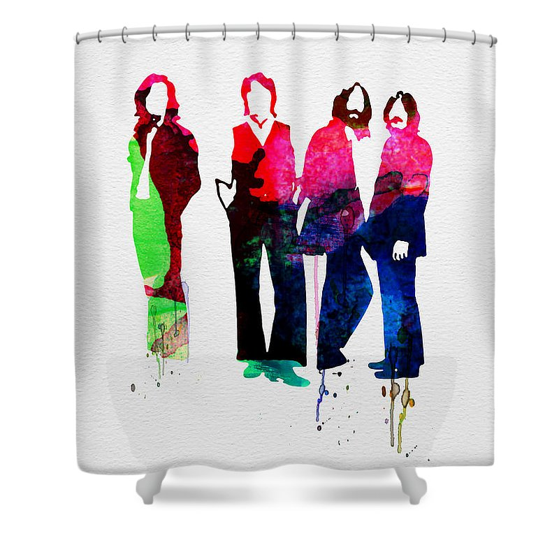 Beatles Shower Curtain featuring the painting Beatles Watercolor by Naxart Studio