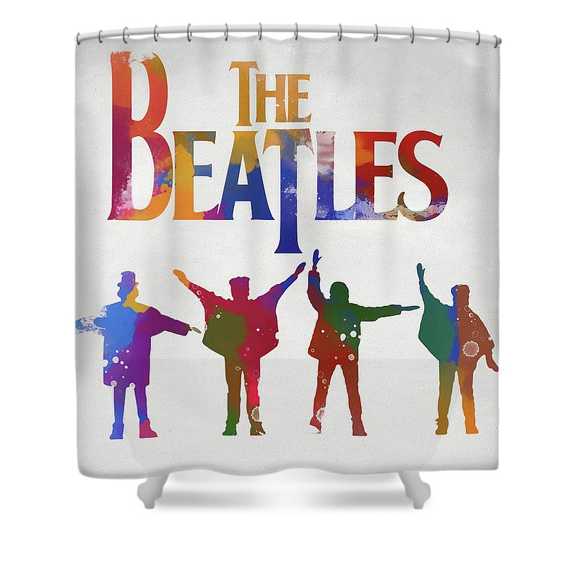 Beatles Watercolor Poster Shower Curtain featuring the painting Beatles Watercolor Poster by Dan Sproul