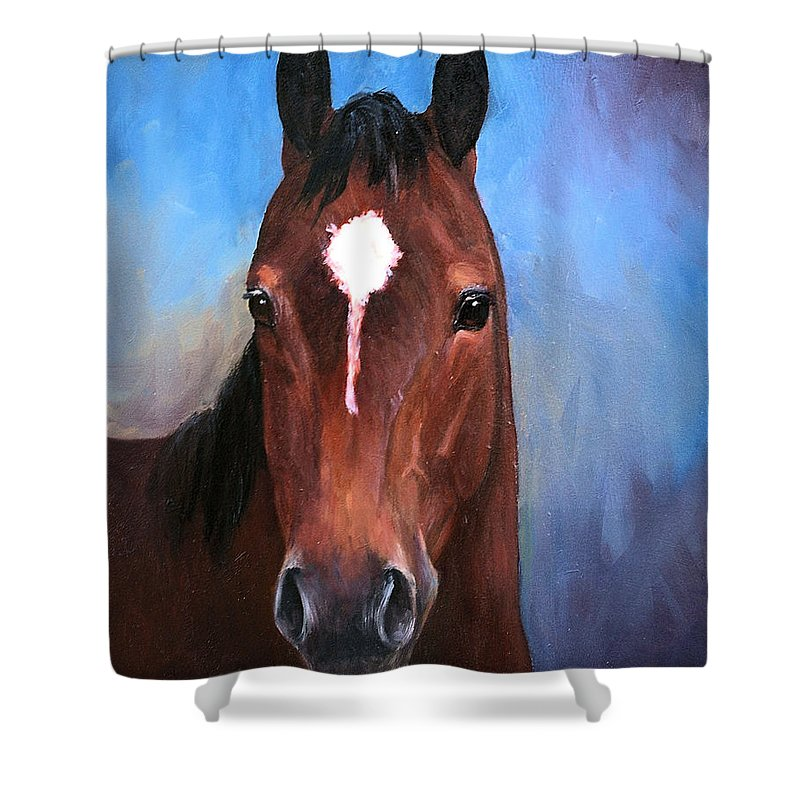Horse Shower Curtain featuring the painting Beau Quarter Horse Portrait by Kim Corpany