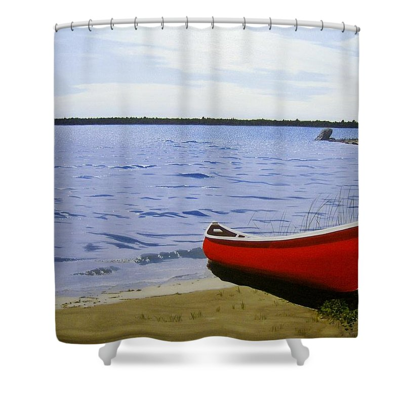 Landscpaes Shower Curtain featuring the painting Beaultiful Red Canoe by Kenneth M Kirsch