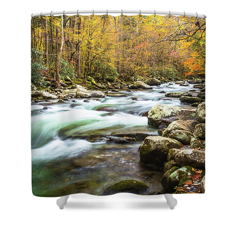 Smoky Mountains Shower Curtain featuring the photograph Beautiful Autumn Colors Little Pigeon River Smoky Mountains by Carol Mellema