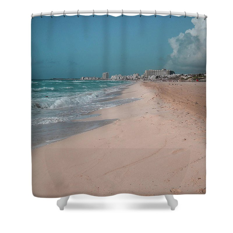 Beach Shower Curtain featuring the digital art Beautiful Beach In Cancun, Mexico by Nicolas Gabriel Gonzalez