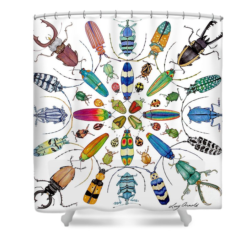 Insects Shower Curtain featuring the painting Beautiful Beetles by Lucy Arnold