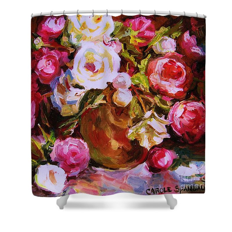 Roses Shower Curtain featuring the painting Beautiful Bouquet by Carole Spandau