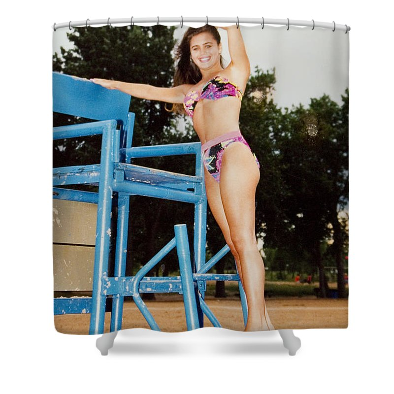 Brunette Shower Curtain featuring the photograph Beautiful Brunette Model At The Beach by Steve Krull