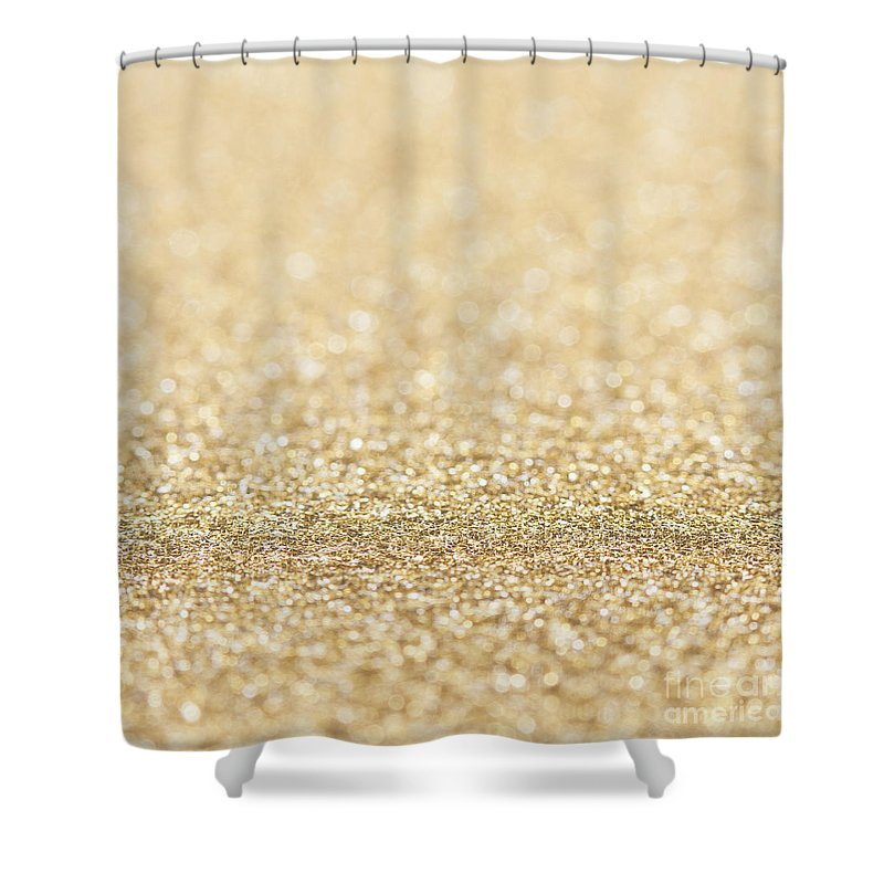 Bokeh Shower Curtain Featuring The Photograph Beautiful Champagne Gold Glitter Sparkles By PLdesign