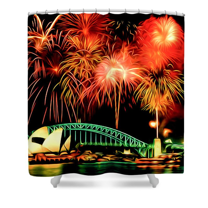 Beautiful Colorful Holiday Fireworks Shower Curtain featuring the painting Beautiful Colorful Holiday Fireworks 2 by Jeelan Clark