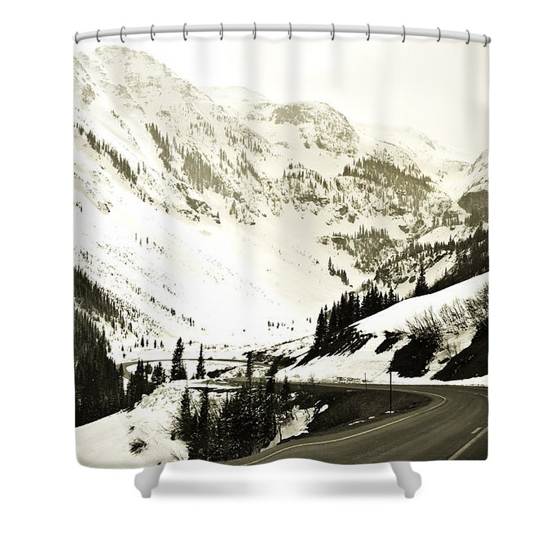 Mountains Shower Curtain featuring the photograph Beautiful Curving Drive Through The Mountains by Marilyn Hunt