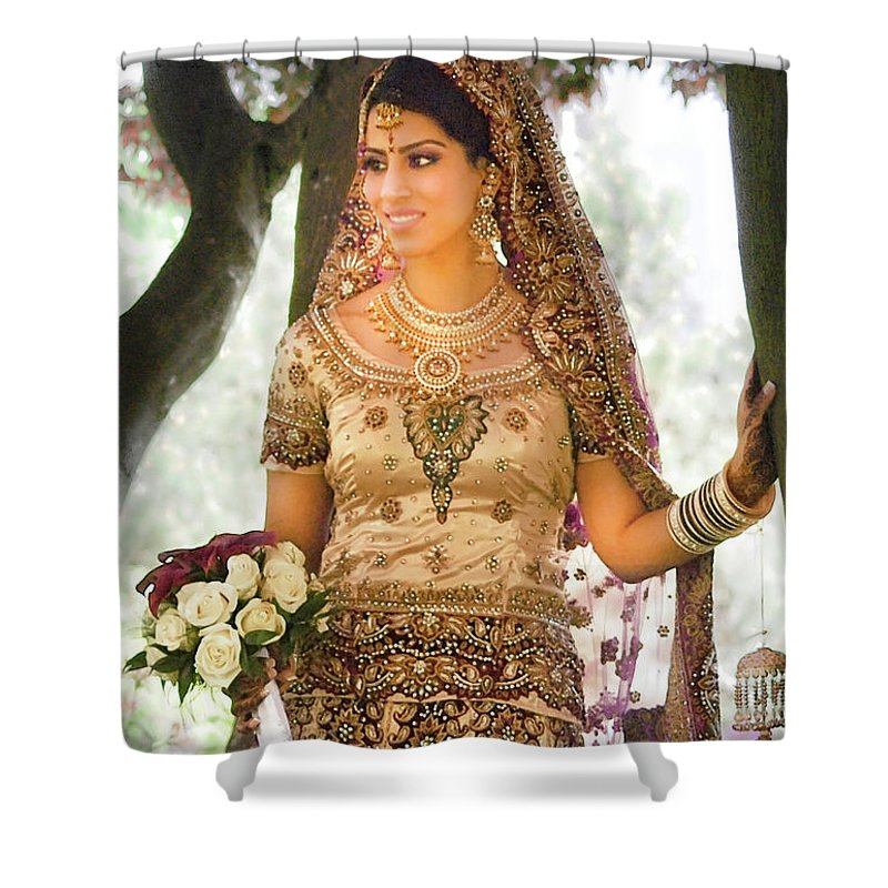 Digital Shower Curtain Featuring The Photograph Beautiful East Indian Woman In Traditional Wedding Dress By Arthur