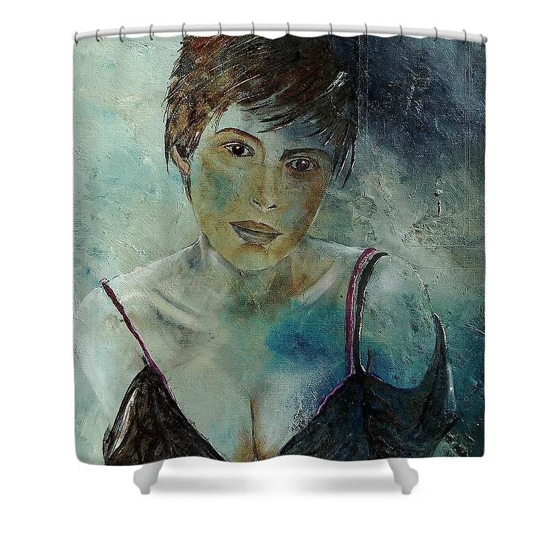 Girl Shower Curtain featuring the painting Beautiful Face by Pol Ledent