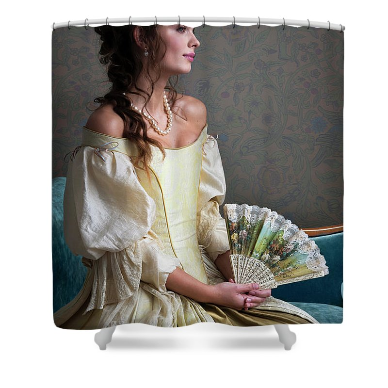 Georgian Shower Curtain Featuring The Photograph Beautiful Woman In Period Dress By Lee Avison