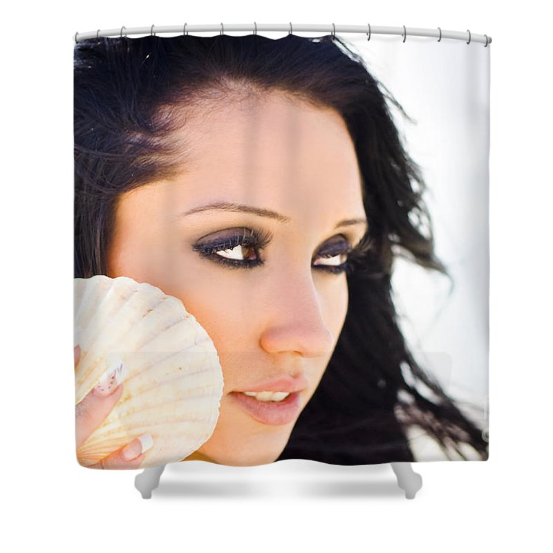 Attractive Shower Curtain featuring the photograph Beautiful Girl Holding A Cockle Shell by Jorgo Photography - Wall Art Gallery