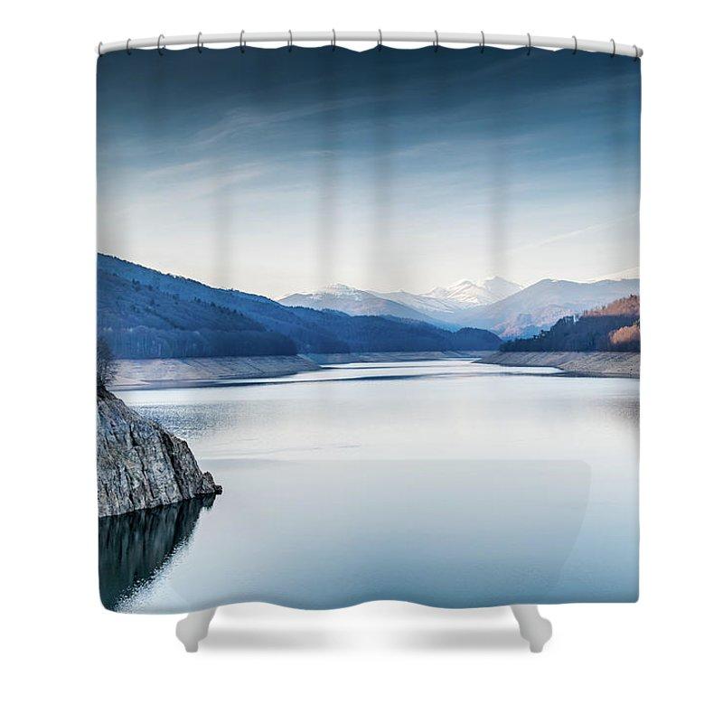 Outdoor Shower Curtain featuring the pyrography Beautiful Landscape Of The Lake Vidraru Romania by Bucsan Alexandru