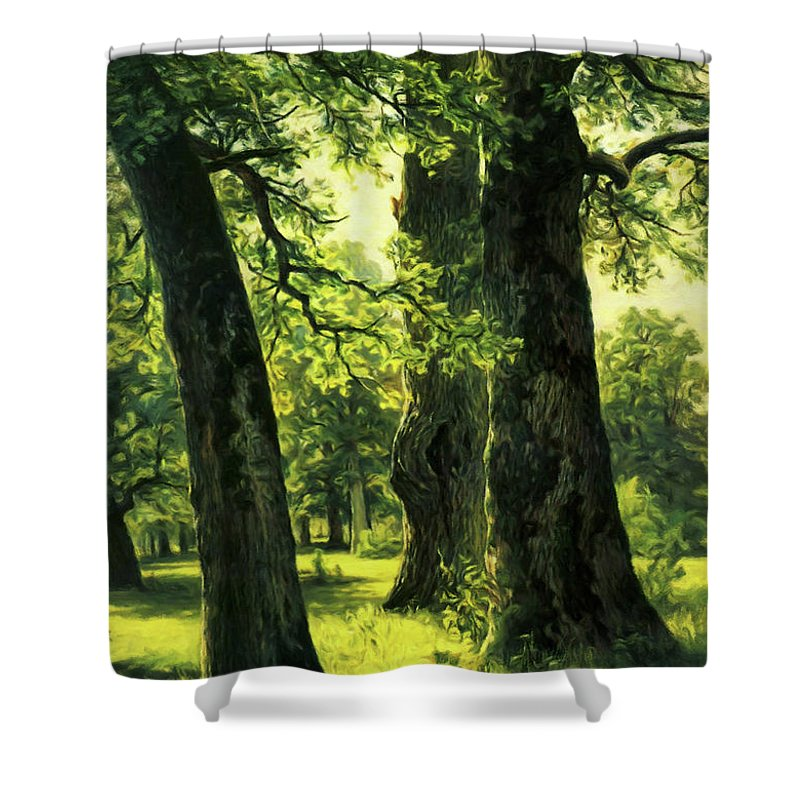 Beautiful Oak Trees Reach To The Skies Shower Curtain featuring the mixed media Beautiful Oak Trees Reach To The Skies by Georgiana Romanovna
