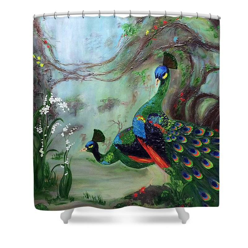 Beautiful Peacock Painting Shower Curtain Featuring The By Judith Yabut