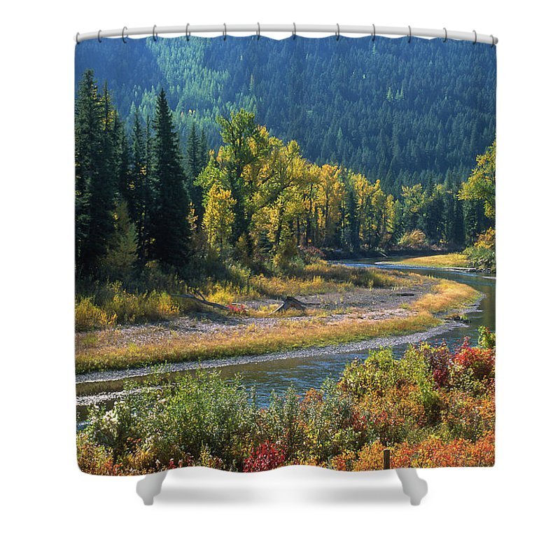 Autumn Shower Curtain featuring the photograph Beautiful River Bottom In Vivid Autumn Colors by Jerry Voss