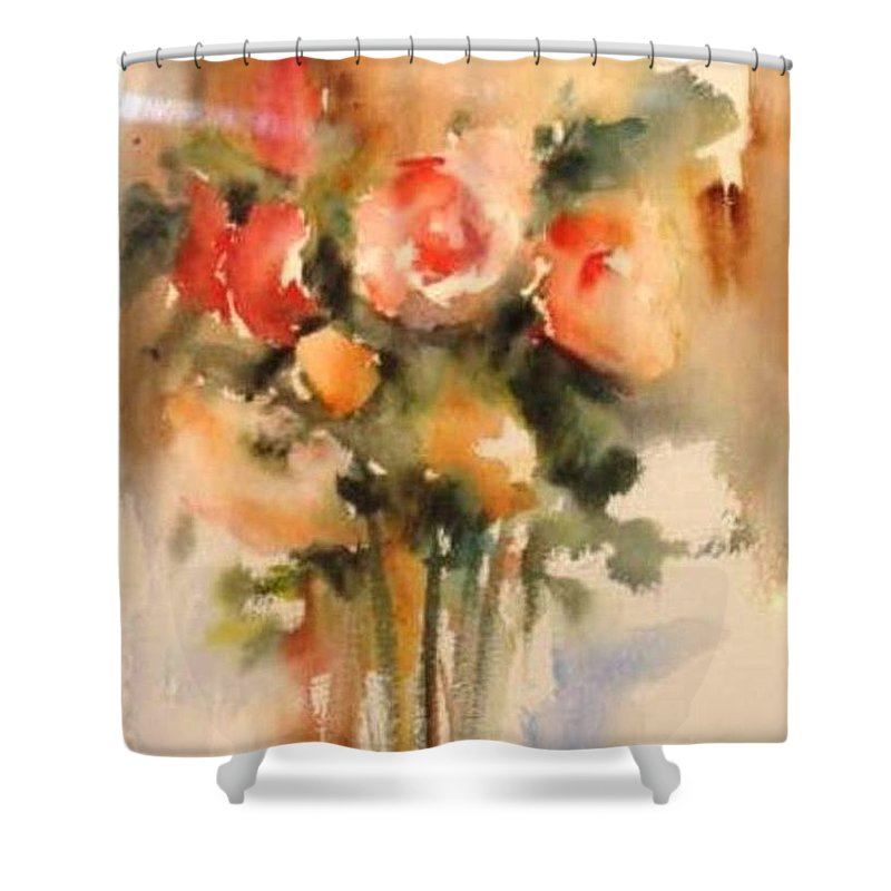 Floral Shower Curtain featuring the painting Beautiful Roses by Vesna Grundler