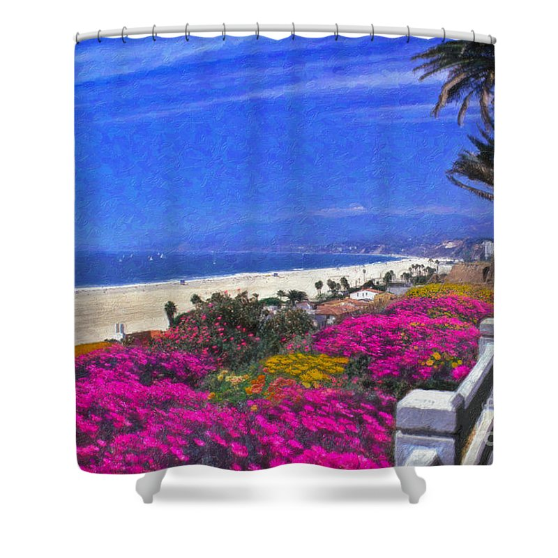 Beautiful Santa Monica Ca Palisades Park View Malibu Point Dume Shower Curtain featuring the photograph Beautiful Santa Monica Ca by David Zanzinger