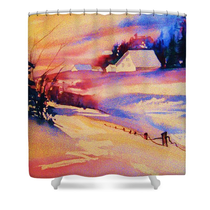 Winterscene Shower Curtain featuring the painting Beautiful Serenity by Carole Spandau