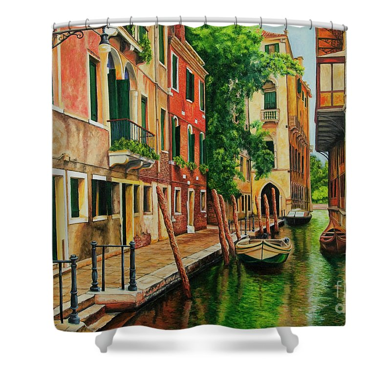 Venice Canal Shower Curtain featuring the painting Beautiful Side Canal In Venice by Charlotte Blanchard