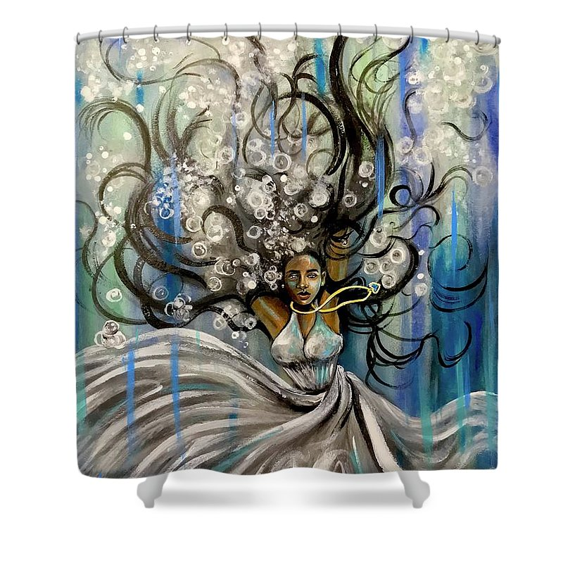 Artist_ria Shower Curtain featuring the painting Beautiful Struggle by Artist RiA